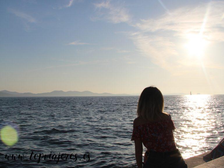 Puesta de sol desde el órgano marino de Zadar
