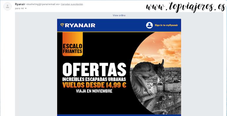 Newsletter Ryanair - Viajar barato